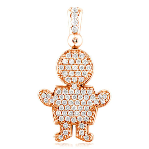 Extra Large Diamond Kids Sziro Boy Pendant for Mom, Grandma in 18k Pink Gold