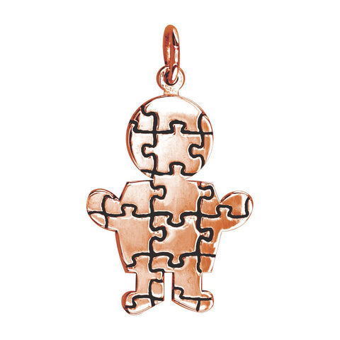 Large Autism Awareness Puzzle Boy Charm in 14K Pink Gold