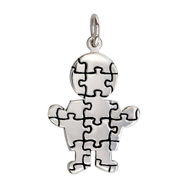 Large Autism Awareness Puzzle Boy Charm in 18K White Gold