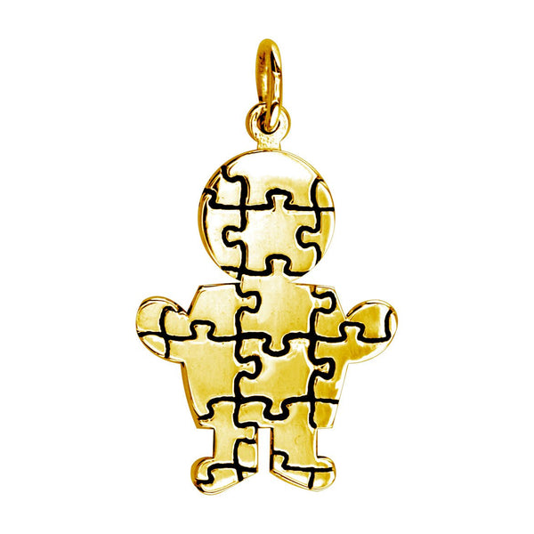 Large Autism Awareness Puzzle Boy Charm in 18K Yellow Gold