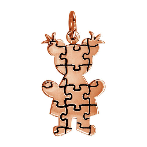 Large Autism Awareness Puzzle Girl Charm in 18K Pink Gold