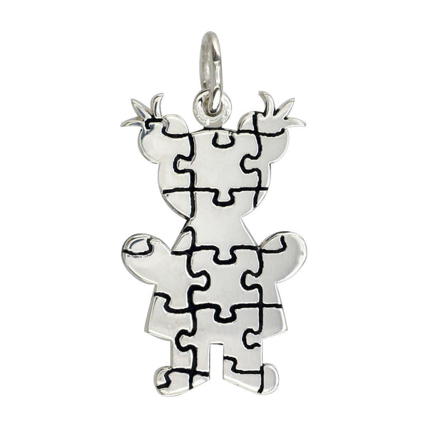 Large Autism Awareness Puzzle Girl Charm in 18K White Gold