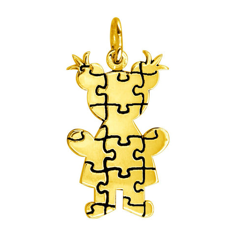 Large Autism Awareness Puzzle Girl Charm in 14K Yellow Gold