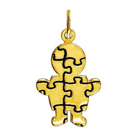 Small Autism Awareness Puzzle Boy Charm in 14K Yellow Gold