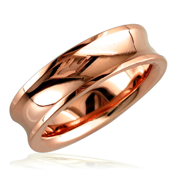 Concave Wedding Ring,6mm in 18k Pink Gold, size 7.5