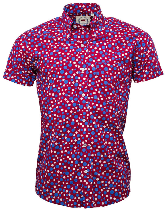 Shirt Polka Dots Burgundy Blue & White Short Sleeve - Relco
