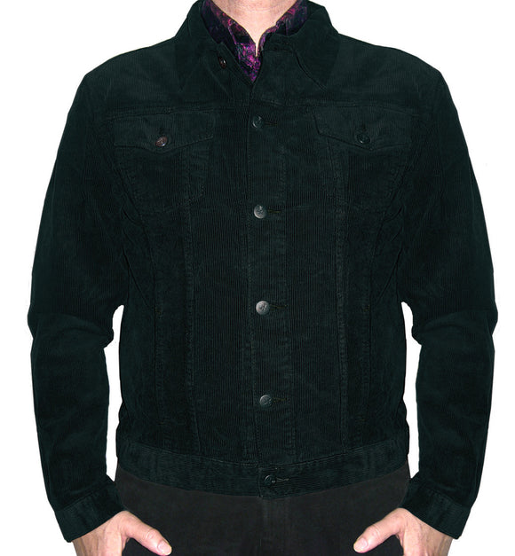 Black Corduroy Casual Jacket Mod