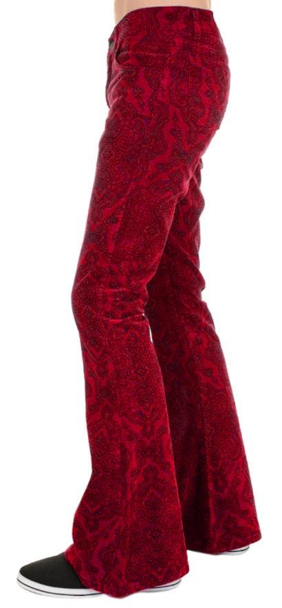 Mens Red Paisley Hendrix Corduroy Bell Bottom Trousers - CXLondon.Com