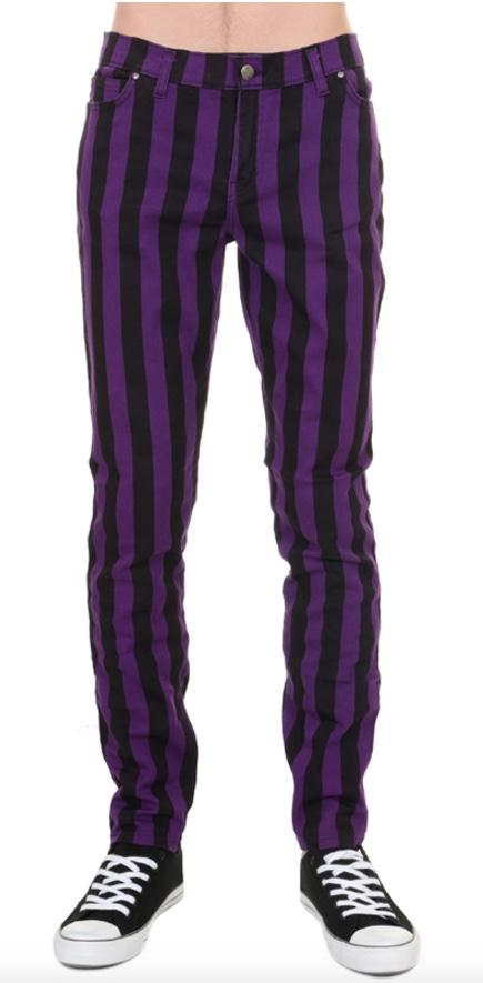 Mens Indie 60s Retro Black & Purple Striped Jeans