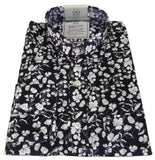 Mens Floral Shirt Midnight Navy & White Button Down Collar - Relco Luxury Platinum