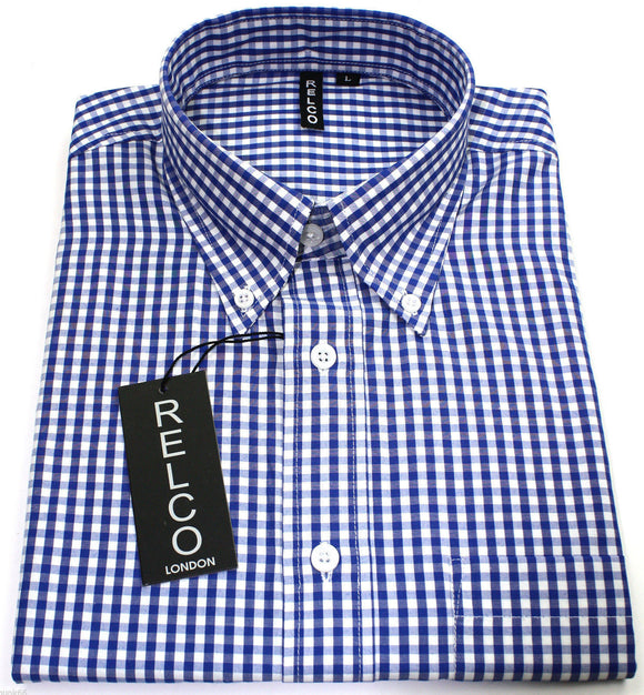 Shirt Gingham Check Blue White Short Sleeve