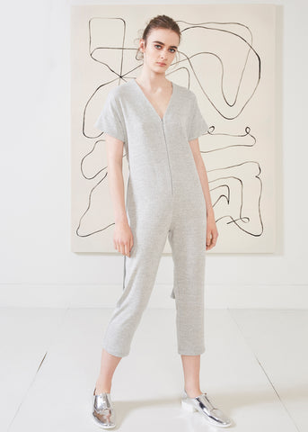 Dagg & Stacey Halsey Jumpsuit.  Light grey relaxed fit jumpsuit with v-neck and zipper front.