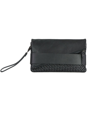 TRIFECTA woven hand strap clutch