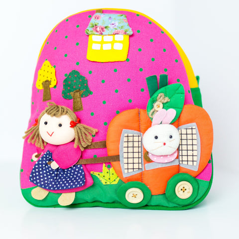 Children's Backpack - Girl Pulling a Pumpkin House