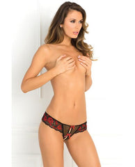 Crotchless Lace Thong w/Bows Lingerie & Clothing > Panties Rene Rofe