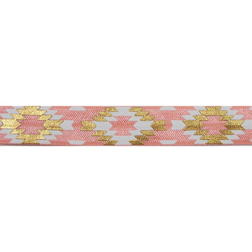 "Coral Peach & Gold Southwestern Aztec - 5/8"" Metallic Printed Fold Over Elastic"