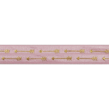"Ballerina Pink & Gold Straight Arrows - 5/8"" Metallic Printed Fold Over Elastic"