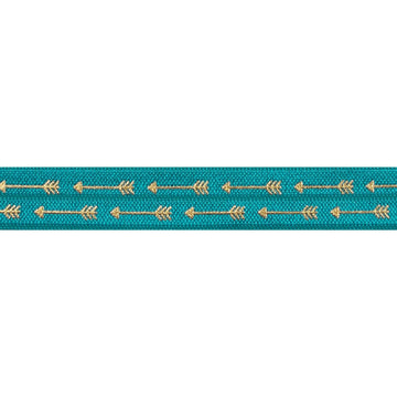 "Jade Blue & Gold Straight Arrows - 5/8"" Metallic Printed Fold Over Elastic"