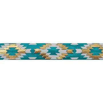 "Jade Blue & Gold Southwestern Aztec - 5/8"" Metallic Printed Fold Over Elastic"