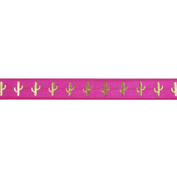 "Hot Pink & Gold Cactus - 5/8"" Metallic Printed Fold Over Elastic"