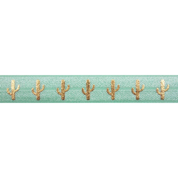 "Mint Green & Gold Cactus - 5/8"" Metallic Printed Fold Over Elastic"