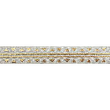"Ivory & Gold Aztec - 5/8"" Metallic Printed Fold Over Elastic"