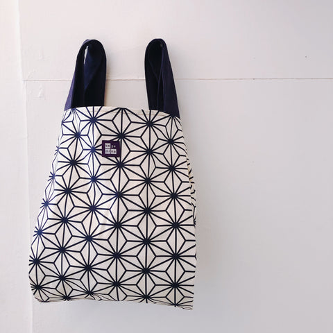Marché Bag Linen leaves White x Navy