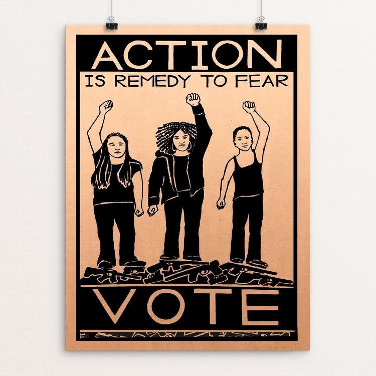 "Action is Remedy to Fear by Jennifer Bloomer 12"" by 16"" Print / Unframed Print Creative Action Network"