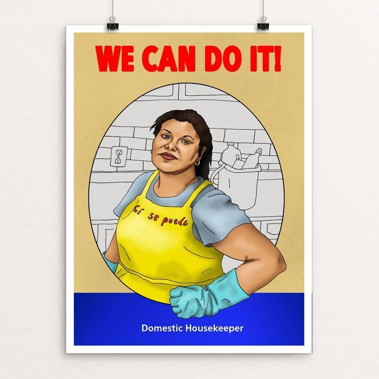 "Domestic Housekeeper by Daisy Patton 12"" by 16"" Print / Unframed Print We Can Do It!"