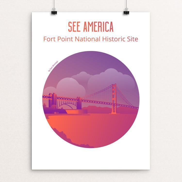 "Fort Point National Historic Site "" sunset version "" by Ilyas Bentaleb 12"" by 16"" Print / Unframed Print See America"