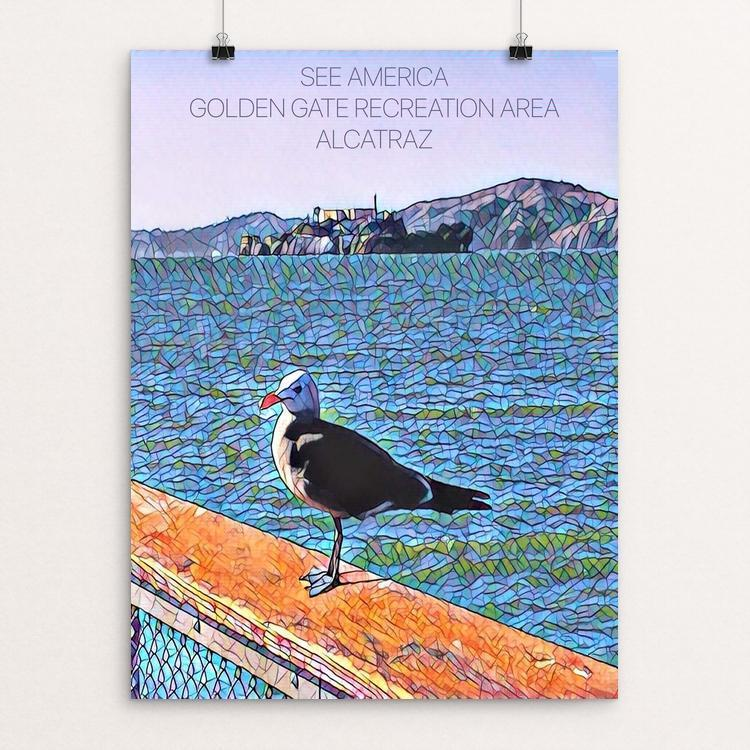 "Golden Gate Recreation Area, Alcatraz Jailbird by Bryan Bromstrup 12"" by 16"" Print / Unframed Print See America"