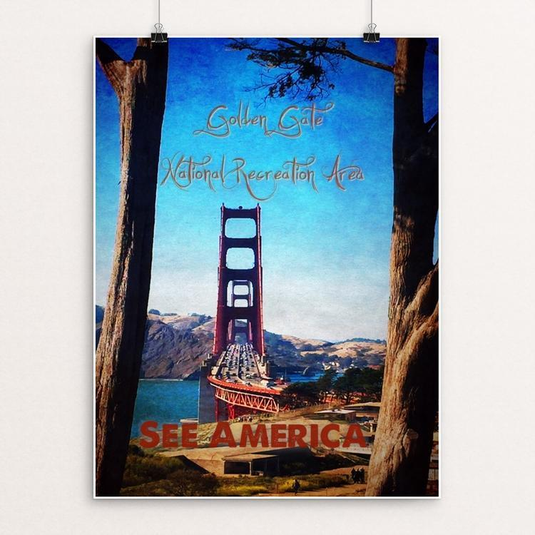 "Golden Gate Recreation Area  Golden Gate Bridge 2 by Bryan Bromstrup 12"" by 16"" Print / Unframed Print See America"