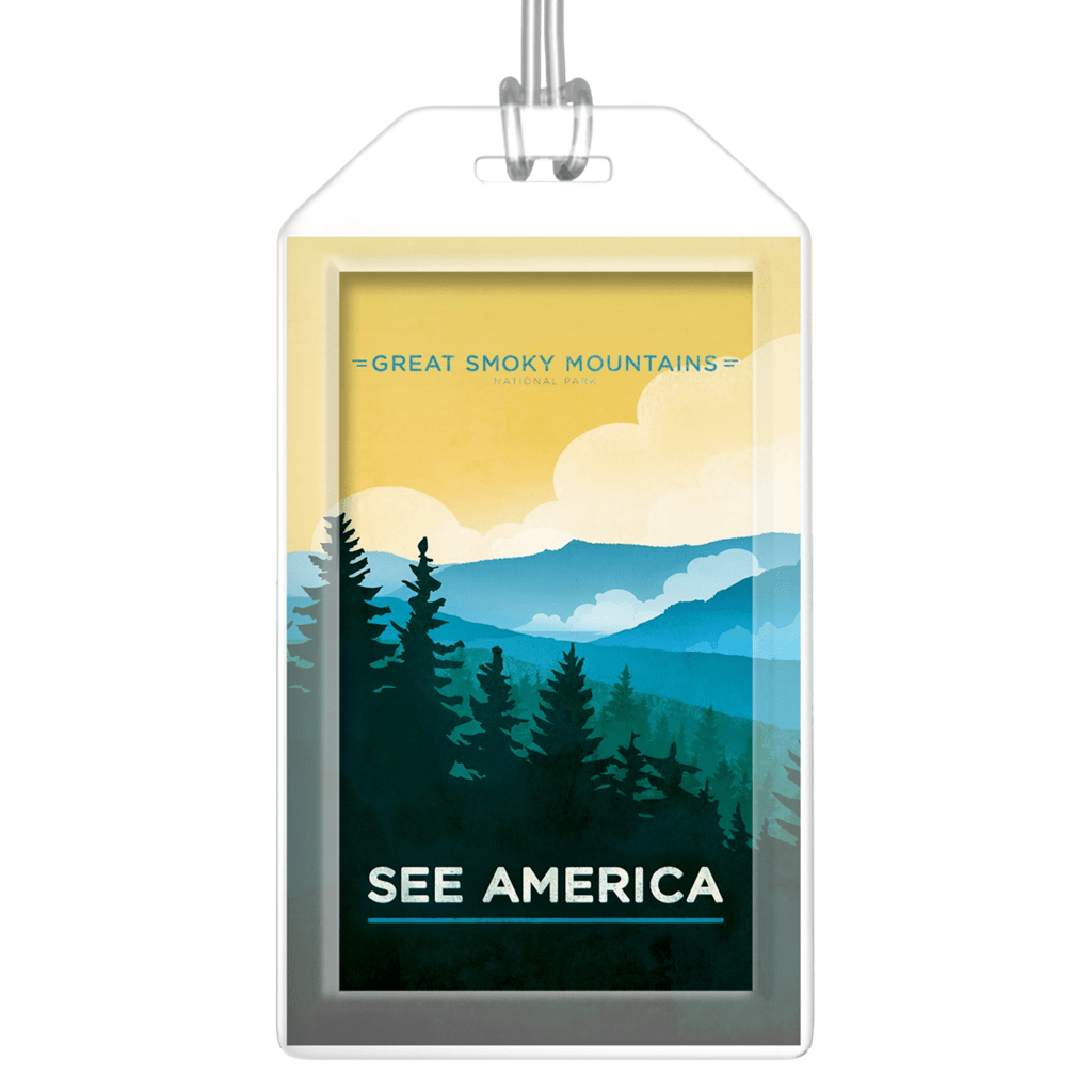 Great Smoky Mountains Luggage Tags by Jon Cain Lustre Paper Luggage Tag See America