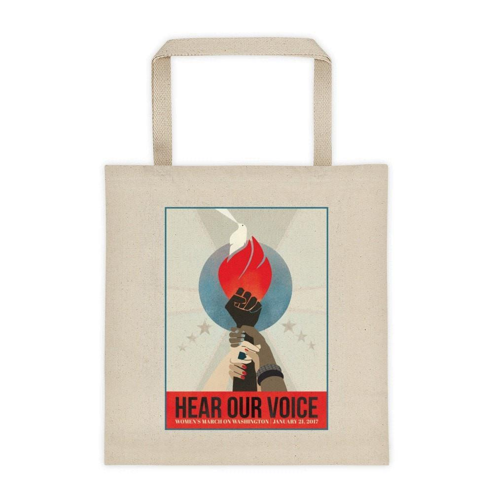 Hear Our Voice Tote Bag by Liza Donovan Tote Bag We Can Do It!