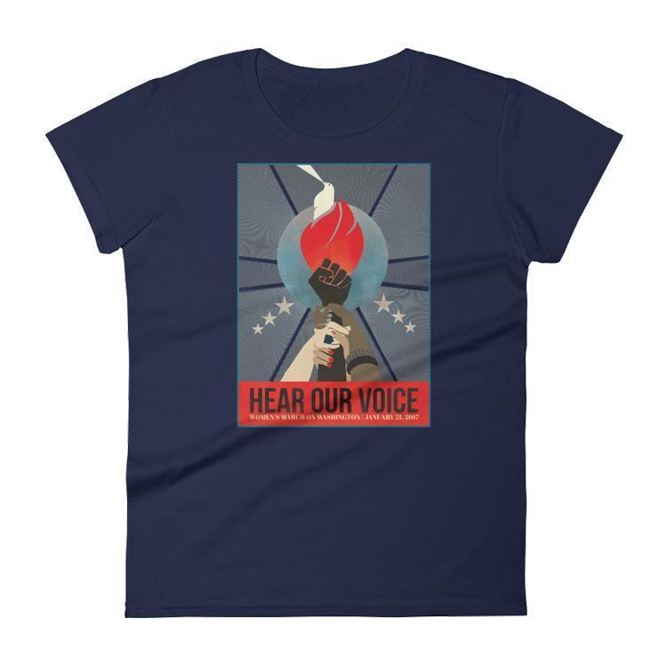 Hear Our Voice Women's T-Shirt by Liza Donovan S / Women's / Navy T-Shirt We Can Do It!