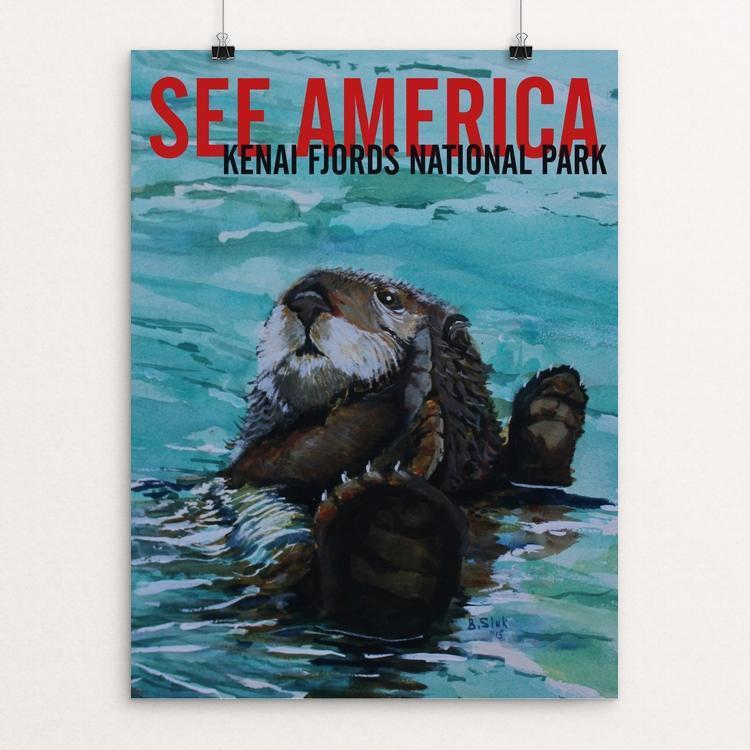 "Kenai Fjords National Park -- Sea Otter by Bruce and Scott Sink 12"" by 16"" Print / Unframed Print See America"