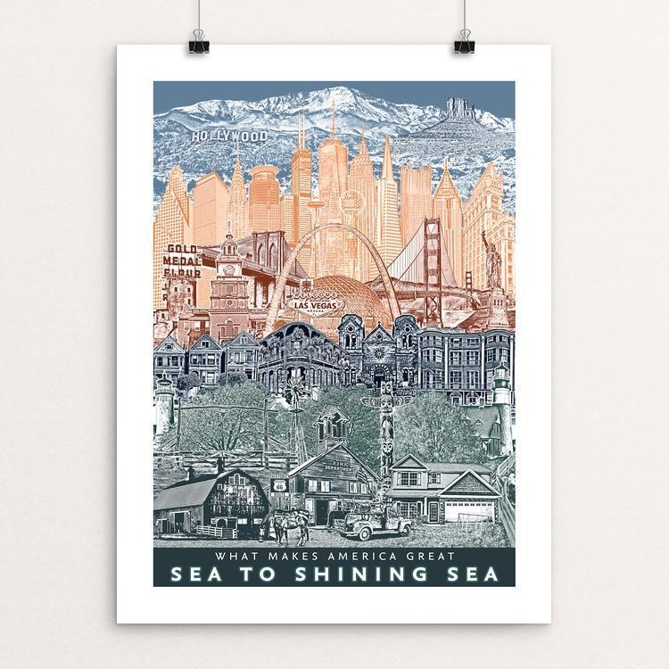 "Landmarks: Unity From Sea to Shining Sea by Beth Kerschen 12"" by 16"" Print / Unframed Print What Makes America Great"