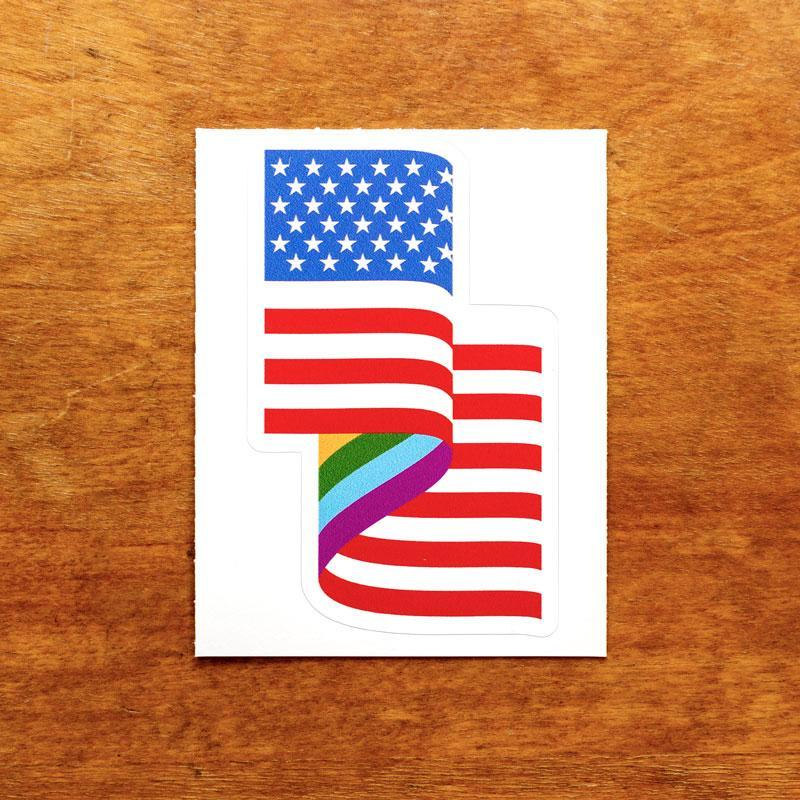 LGBT American Flag Sticker by Jackie Lay 3x4 inch / 1 Pack Stickers Creative Action Network