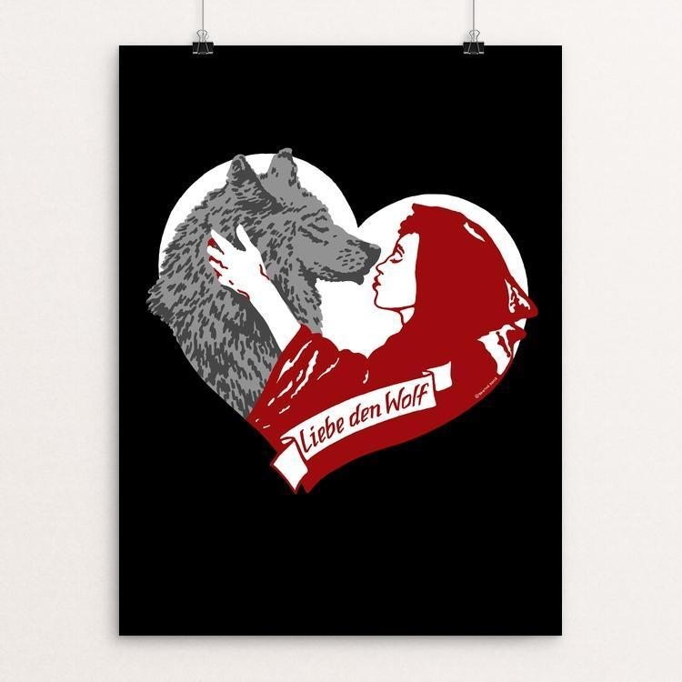 "Liebe den Wolf (Love the Wolf) by Brixton Doyle 18"" by 24"" Print / Unframed Print Join the Pack"