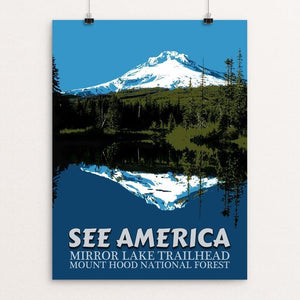 "Mirror Lake Trailhead, Mount Hood National Forest by E. Michelle Peterson 12"" by 16"" Print / Unframed Print See America"