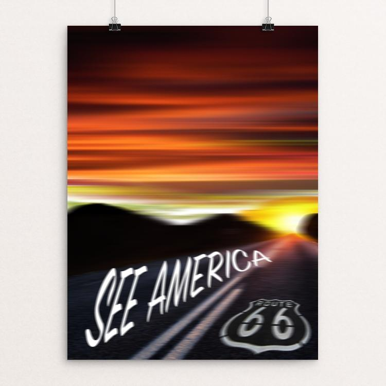 "Route 66 by David Wang 12"" by 16"" Print / Unframed Print See America"