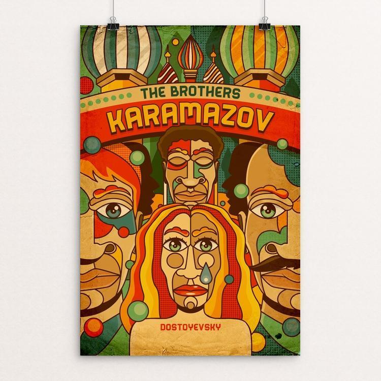"The Brothers Karamazov by Roberlan Borges 12"" by 18"" Print / Unframed Print Recovering the Classics"