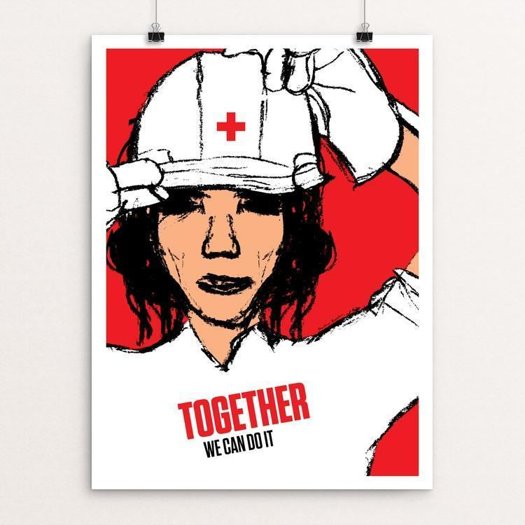 "Together We Can Do It by Marlena Buczek Smith 12"" by 16"" Print / Unframed Print We Can Do It!"
