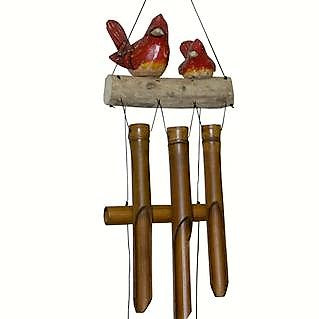 Cohasset Imports 6 IN x 8 IN x 32 IN Cardinal Family Folk Art Bamboo Low Tone Wind Chime