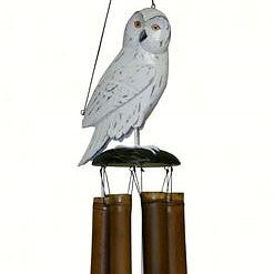 Cohasset Imports   8 IN x 8 IN x 48 IN Snowy Owl Folk Art Finish Bamboo Low Tone Wind Chime