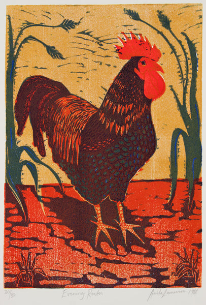 Anita Laurence 'Evening Rooster' - linocut on paper