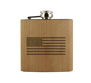 American Flag Wood Wrapped Flask