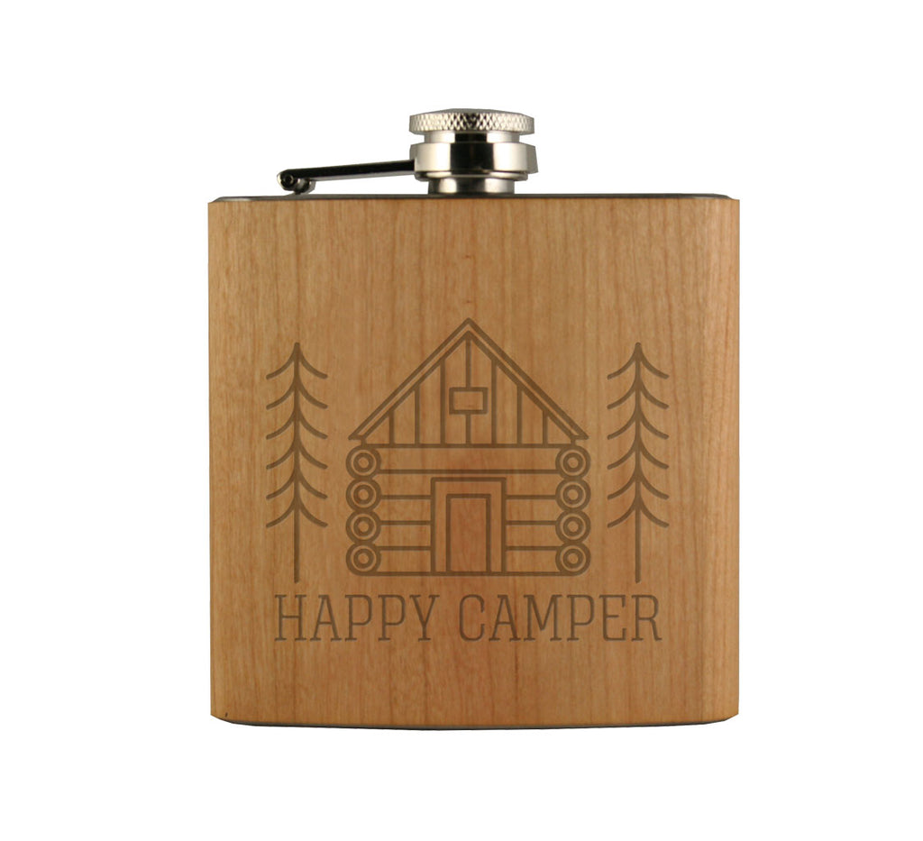 Happy Camper Wood Wrapped Flask