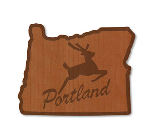 Portland Stag in OR Real Wood Magnet