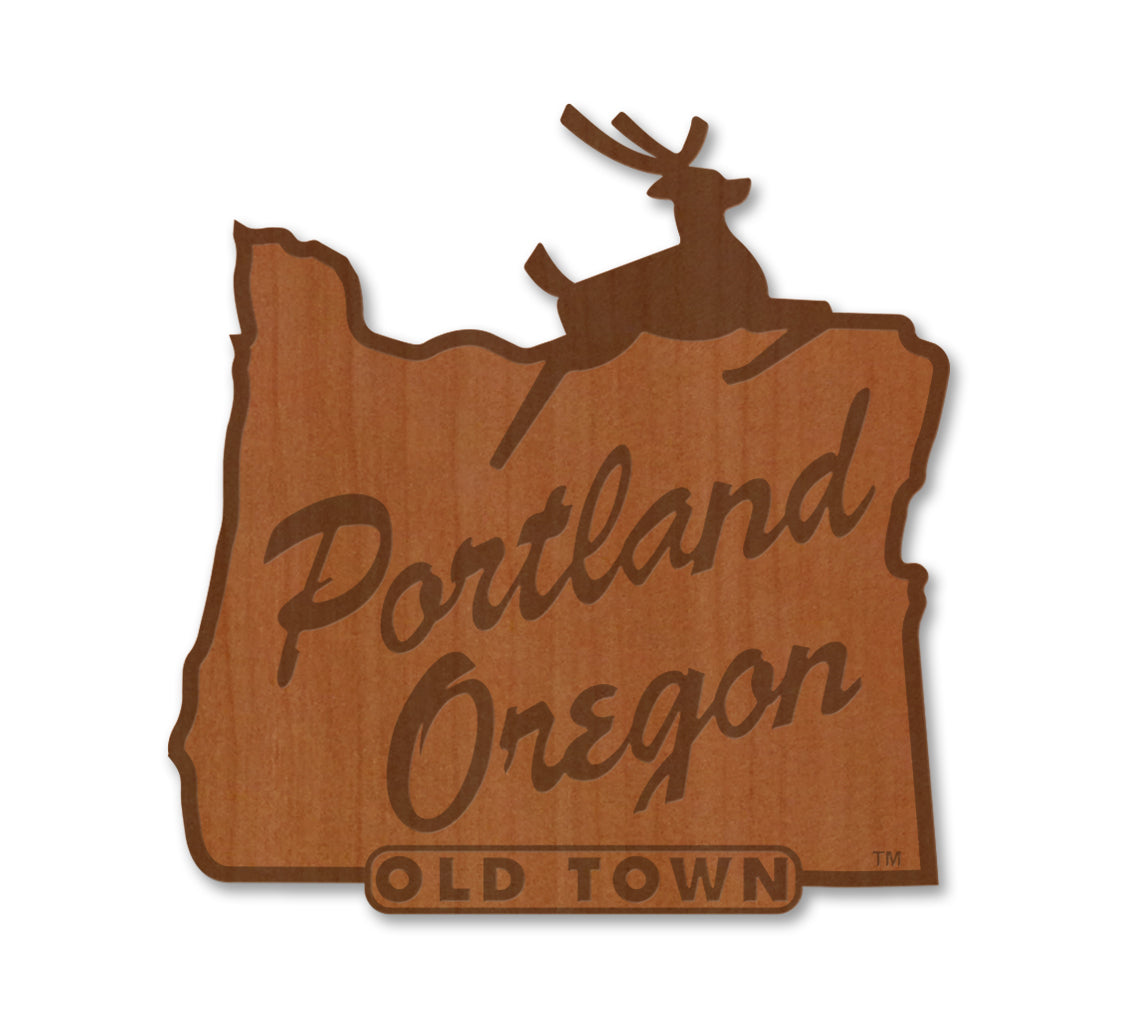 Portland Stag Sign Real Wood Magnet
